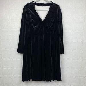 Torrid Black Velvet Cutout Skater Dress 2X Altered